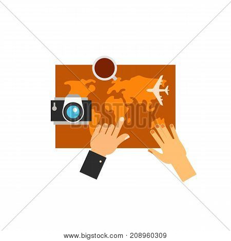 Vector icon of hands of couple planning tour on map. Vacation, trip, air travel. Tour planning concept. Can be used for topics like travel, tourism, tour