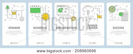 Vector set of business management concept banners. Speaker, Schedule, Organization, Career ladder, Success website templates. Modern thin line flat symbols, icons for web, print.