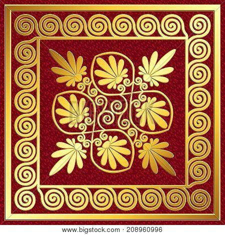 Golden square frame with traditional vintage Greek Meander and floral pattern on red background for design template.