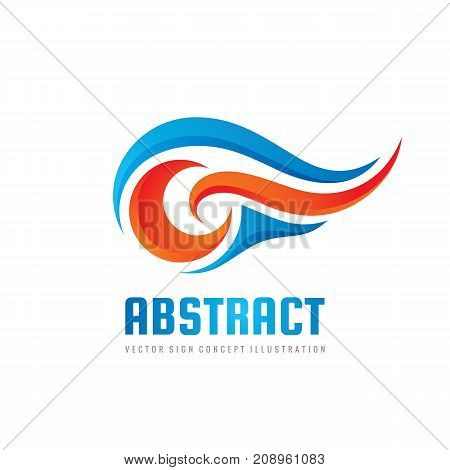 Abstract vector logo template concept illustration. Blue water waves and red fire flames. Nature energy design element.