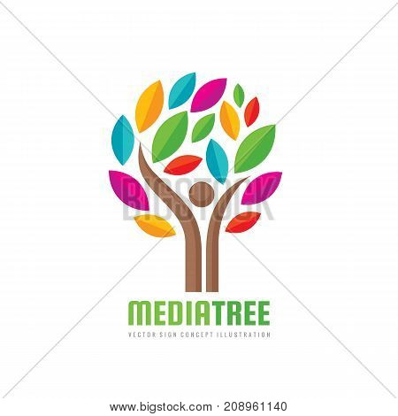 Media tree - positive vector logo template. Human character concept illustration. People man sign. Music festifal emblem Internet blog icon. Success symbol.