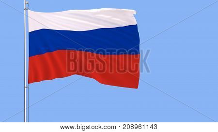 Flag of Russia on a flagpole fluttering in the wind on a blue background 3d rendering