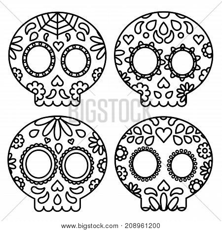 Day of the dead set of skulls black outline for coloring isolated vector