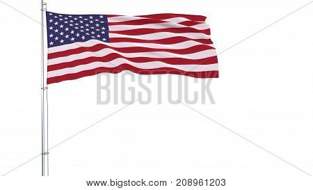Flag of USA on a flagpole fluttering in the wind on a white background 3d rendering