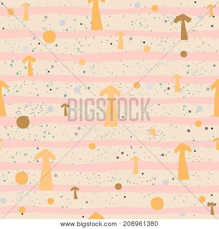 Cute Seamless Pattern with colorful arrows on paper background with stripes. Hand Drawn. vector Illustration.