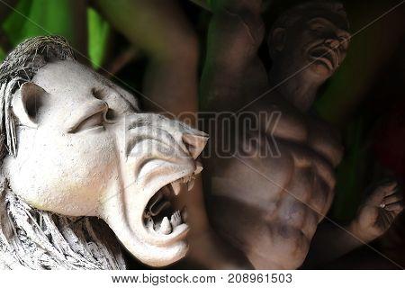 Devi Durga's bahana-lion process of making Durga Idol- in Kolkata.