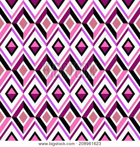 Abstract pink vector ornament, diamond seamless pattern