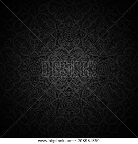 Vintage black vector background with embossed texture
