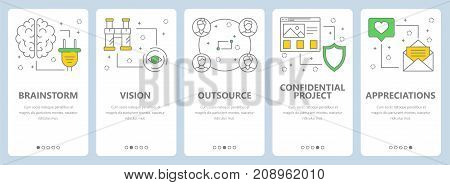 Vector set of project management concept vertical banners. Brainstorm, Vision, Outsource, Confidential project, Appreciation web templates. Modern thin line flat symbols, icons for web, print.