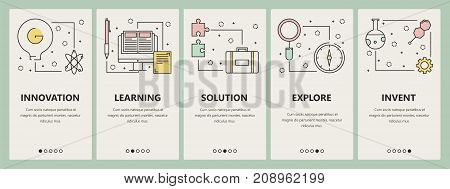 Vector set of science concept vertical banners. Innovation, Learning, Solution, Explore, Invent web templates. Modern thin line flat symbols, icons for web, print.
