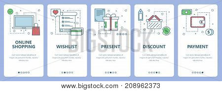 Vector set of shopping concept vertical banners. Online shopping, Wishlist, Present, Discount, Payment web templates. Modern thin line flat symbols, icons for web, print.