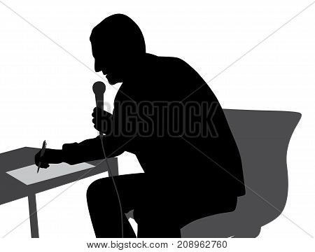 Speaker speaking writing conducting the event. Isolated white background. EPS file available.