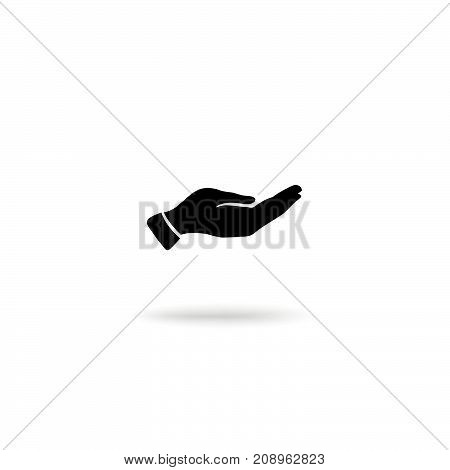 Hand giving gesture silhouette. Give alms icon on a white background