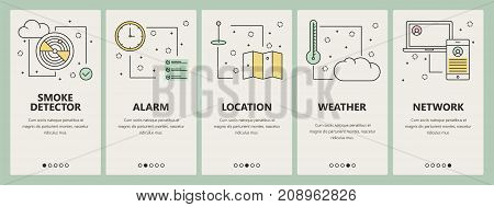 Vector set of smart home concept vertical banners. Smoke detector, Alarm, Location, Weather and Network web templates. Modern thin line flat symbols, icons for web, print.
