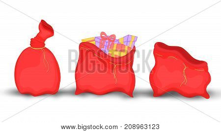 Christmas red sack with gifts and toys, empty, full knotted. Cute Christmas bag of Santa Claus. Isolated on a white background