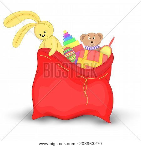 Christmas red sack with gifts and toys. Cute Christmas bag of Santa Claus. Isolated on a white background. Soft toy Teddy bear and yellow rabbit.