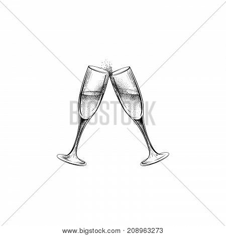 Drink champagne sign. Christmas party icon with clinking wine glasses. Hand drawn holiday card design