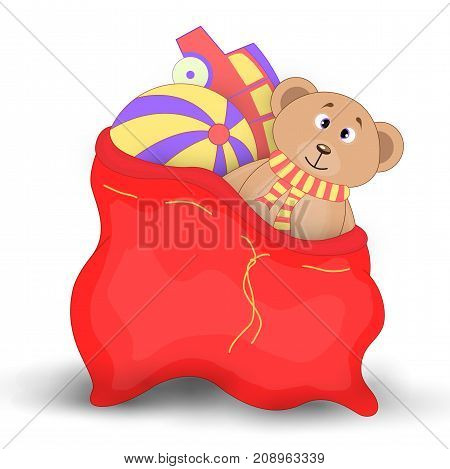Christmas red sack with gifts and toys. Cute Christmas bag of Santa Claus. Isolated on a white background. Soft toy Teddy bear