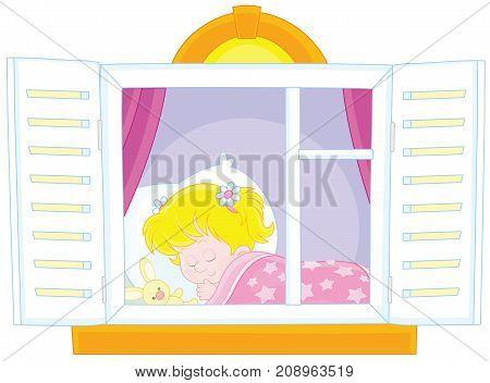 Vector illustration of a little girl sleeping