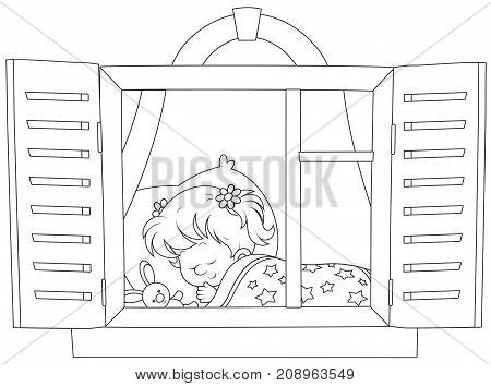 Black and white vector illustration of a little girl sleeping