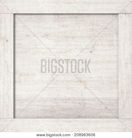 Side of white wooden crate, box, or frame for text