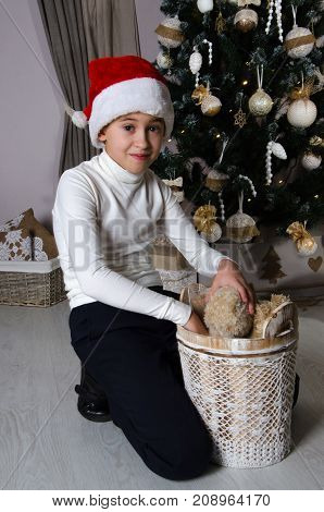 Close up of smiling mischievous boy in white sweater and Santa red hat. Boy is sitting near decorated Christmas tree and taking out the brown teddy bears from the basket.