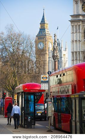 London, UK - June 27, 2017: Big Ben and Westminster Abbey. Street view