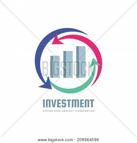 Investment - business finance logo template - vector concept illustration. Economic infographic sign. Arrows and infograph bar. Growth graphic symbol. Design element.