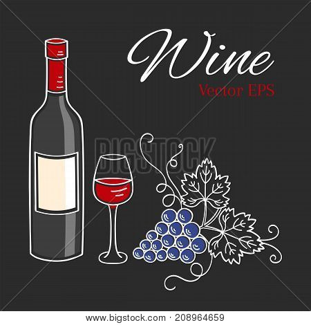 Red wine bottle, glass and grapes vector illustration isolated on chalkboard background, hand drawn doodle sketch.