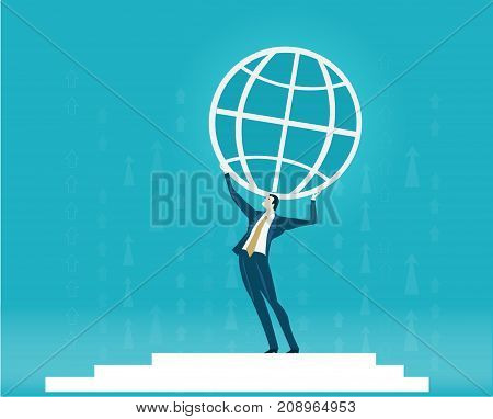 Businessmen holding up the Earth. Building future, support and world wide business development concept.