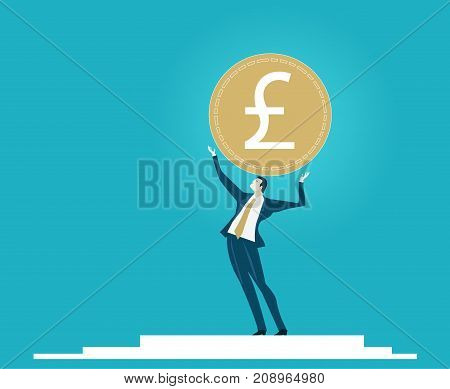 Businessmen holding up the currency symbol: British pound. Economy recession, Brexit. Business concept illustration
