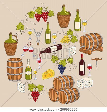 Wine and wine making set vector illustrations hand drawn doodle, vineyard, bottles, glasses, grapes, barrels, cellar. Wine design elements.