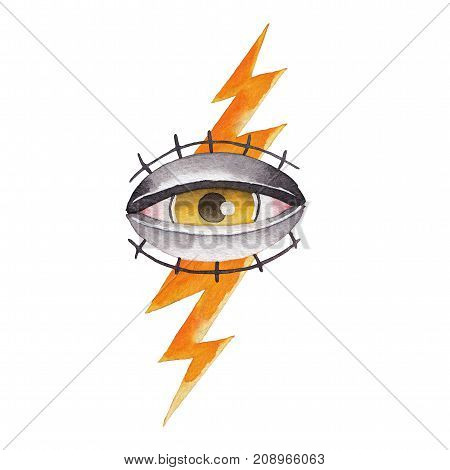 Watercolor illustration of all seeing eye pierced by the lightning. Hand painted tattoo design in old school style isolated on white background