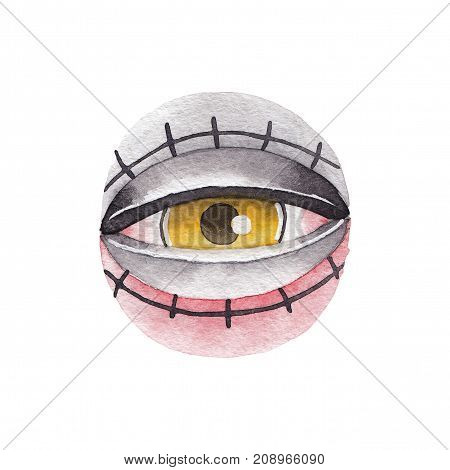 Watercolor illustration of all seeing eye isolated on white background. Hand painted tattoo design in old school style