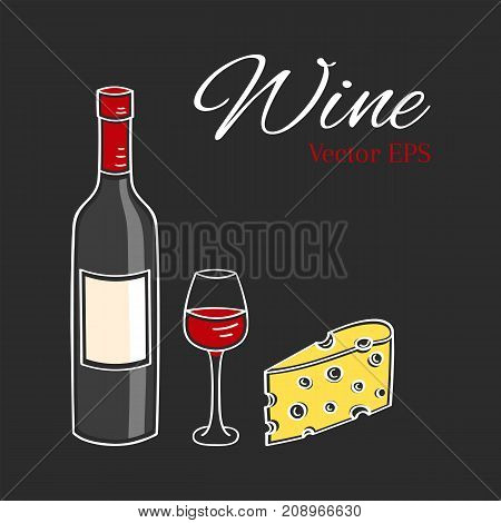 Red wine bottle, glass and cheese vector illustration isolated on chalkboard background, hand drawn doodle sketch.