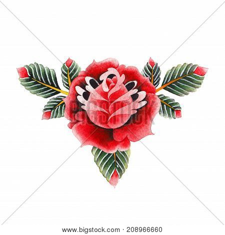 Watercolor floral vignette isolated on white background. Hand painted old school tattoo design. Traditional style