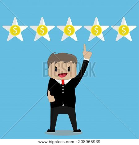 Happy businessman points to five stars in the style of a cartoon