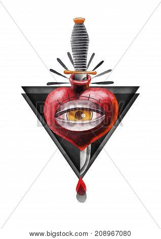 Watercolor heart with all seeing eye pierced by metal knife with black triangles on background. Hand painted art for old school tattoo design