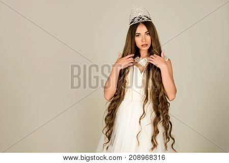 Woman With Long Healthy Hair In Wedding Dress