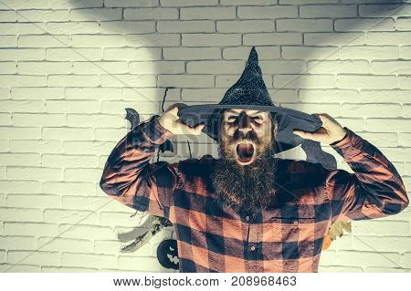 Halloween Wizard Screaming With Anger