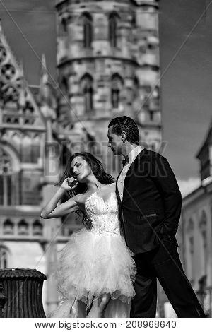 Wedding Sexy Couple Near Caste On Palace Outdoor