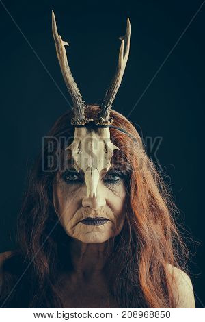Halloween Old Woman With Long Red Hair In Antler