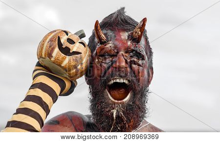 Halloween Satan With Open Mouth, Beard, Red Blood, Wounds