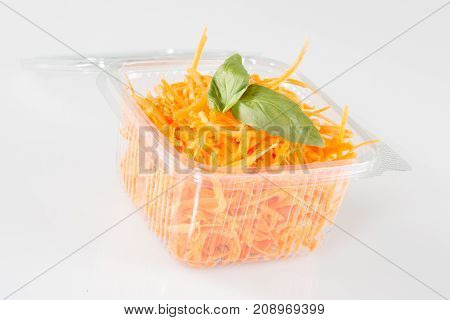 Bunch Of Grated Carrots. Isolated On A White Background