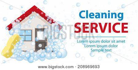 Banner and the poster for cleaning services. The house in foam on a white background. Vector illustration.