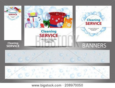 Set banners for the website. Cleaning service. Templates standard size. Vector illustration.