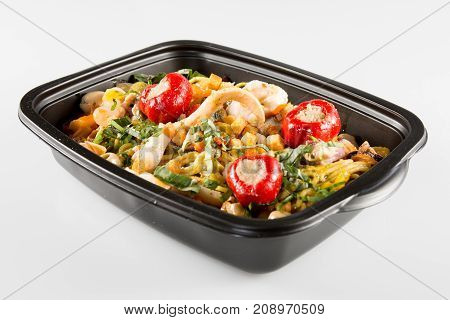 Lunch Containers With Vegetable Salad And Fresh Food