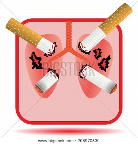Cigarettes Pierce Human Lungs Icon Isolated on White Background
