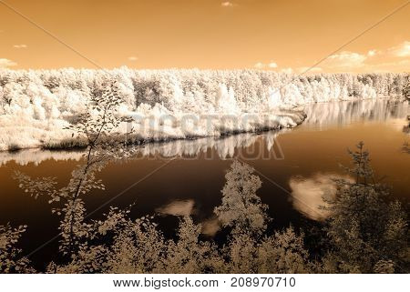 Tourist Trail By The River Of Gauja In Valmiera Latvia. Autumn Colors. Infrared Image