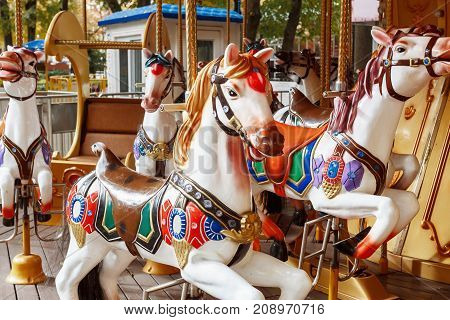 carousel horse in amusement park. Without people. A close-up of a horse carousel at the attractions.